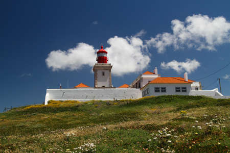 west end: Lighthouse the end west point in Europe, Cabo da Roca cape in Portugal