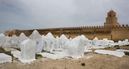 kairouan: Acient muslim cemetery across from the Kairouan mosque in Tunisia Stock Photo