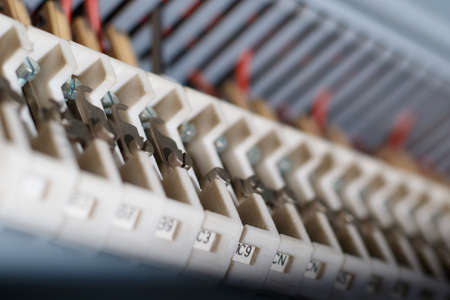 busbar: White and blue busbar for  electricity circuit