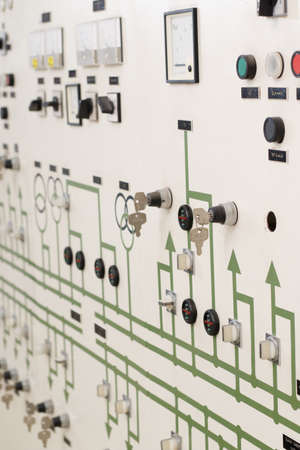switches: Power plant control panel with switches and instruments