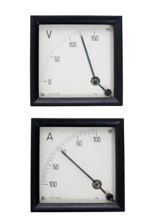 ammeter: Two old analog instruments ammeter and voltmeter isolated on white