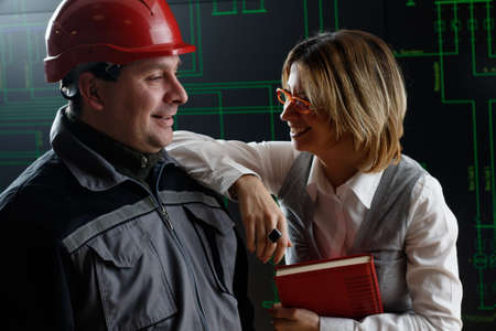 control center: Relaxed team work in  power distribution control center Stock Photo