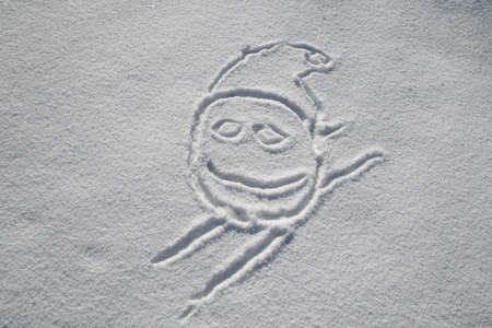 hooray: Smiley in the clear white snow skiing