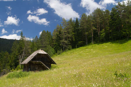 lake dwelling: Traditional  wooden house in Mokra Gora in  Serbia