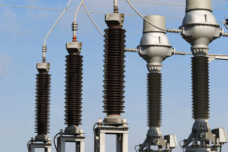 Part of electric  power plant transformer station Stock Photo