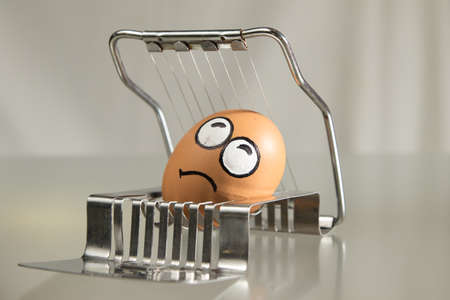 Frightened egg face on the cutter in white background Stock Photo