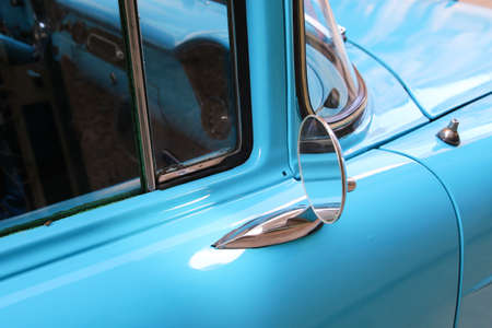 Detail of Blue oldtimer car in Havana Stock Photo