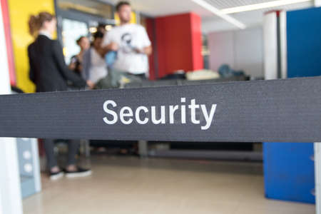 Security check of  luggage and  passengers in airport Stock Photo