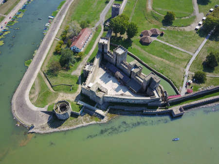 Aerial view of Smederevo fortress on Danube river