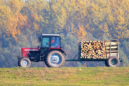 Wood industry, transporting trunk with red tractor Stock Photo