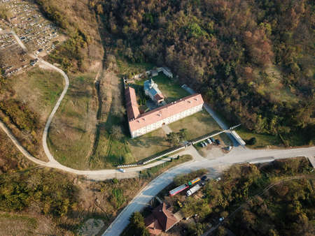 Air view to the Rakovac  orthodox monastery in Serbia in fall 版權商用圖片