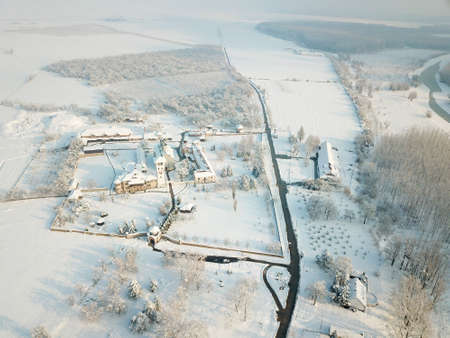 Air view to the Kovilj serbian orthodox monastery in winter