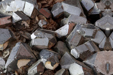 Detail of Magnetite crystal main iron ores Stock Photo