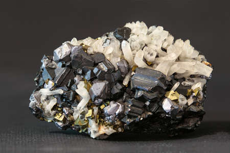 Combination of quartz magnetite and pyrite on the black Stock Photo