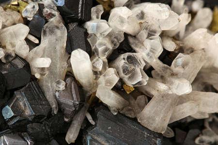 Close up of magnetite and quartz crystals Stock Photo