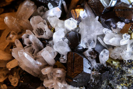 Detail of quartz magnetite and pyrite crystal