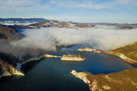 Air view of Uvac river meanders and Sjenicko accumulation lake in Serbia
