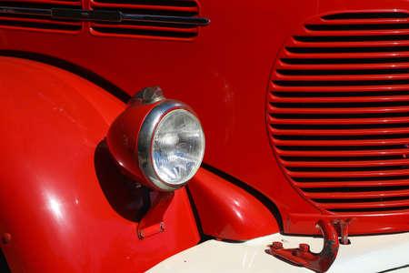 Detail of old vintage firetruck light fender and cooler