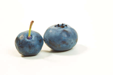 Two fresh raw blueberries isolated on white
