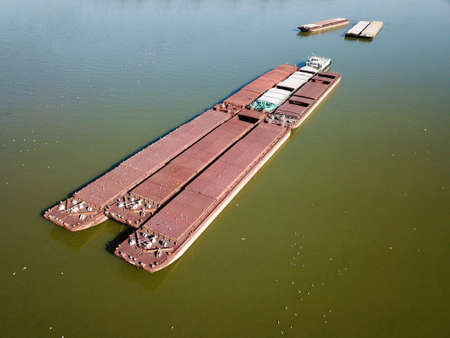 Top view of old barge and shep in the river Danube