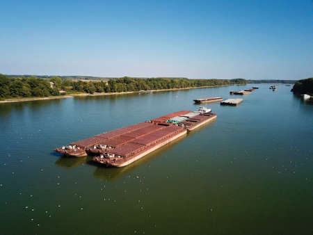 River traffic by cargo ships in the Danube river