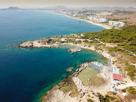 Areal view of faliraki sandy beach in Rhodes, Greece