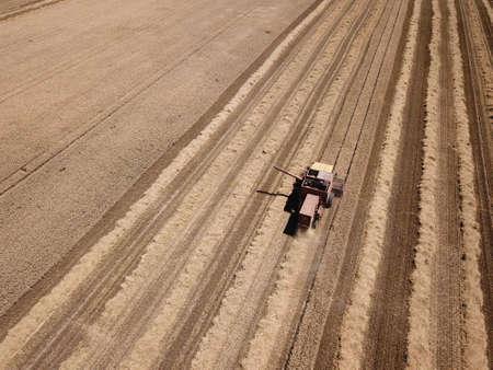 Top view of old combine harvest grain