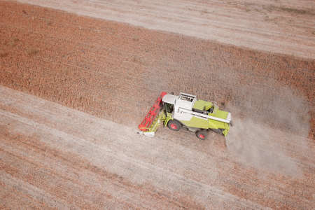 Big Combine harvesting genetically modified soya bean