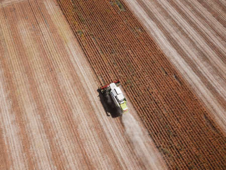 Top view of Combine harvesting soya bean