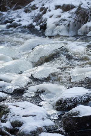 ice water: Ice and water. Cold rocks, ice,water and snow.