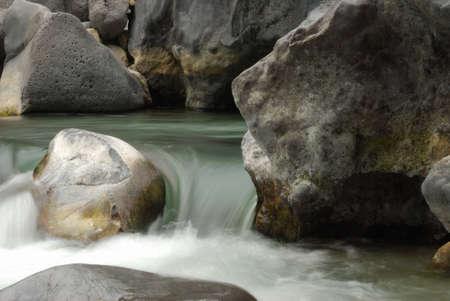 foreshortening: foreshortening impetuous flow of the river Alcantara
