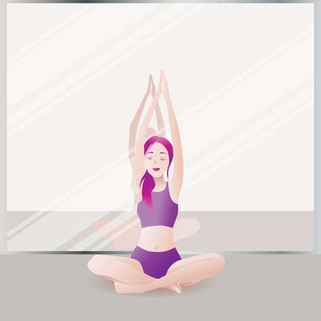 The girl is engaged in yoga. Flexible slim figure. Wellness with health isolated cartoon flat vector illustration.