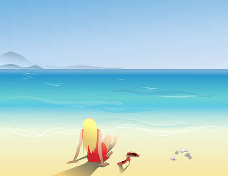 The girl in the sand sits on the beach. Tourism, travel. Vector illustration in flat style.