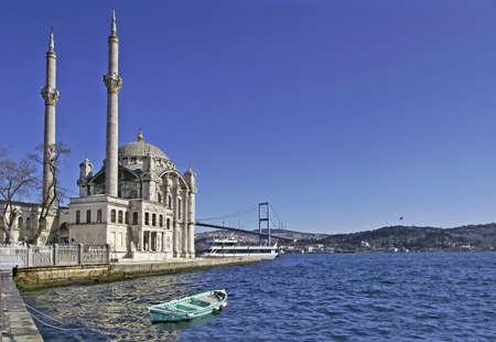 Ortakoy Mosque and The Bosphorus Bridge in Istanbul, Turkey