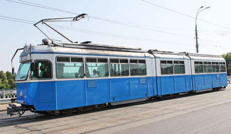 Old Zurich blue tram Stock Photo