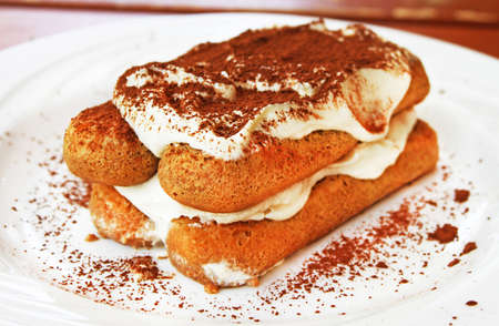 Tiramisu dessert on a plate Stock Photo