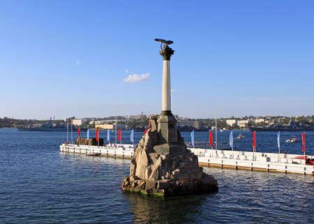 The Sunken Ships Monument, symbol of Sevastopol, Crimea, Ukraine Stock Photo