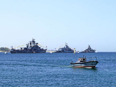 Russian and Ukrainian warships and boat in Sevastopol, Ukraine