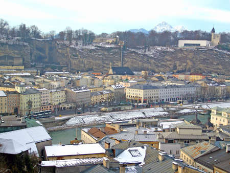 View out over the historic city of Salzburg, Austria, from the castle Stock Photo