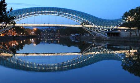 Modern bridge in Tbilisi, Georgia Imagens
