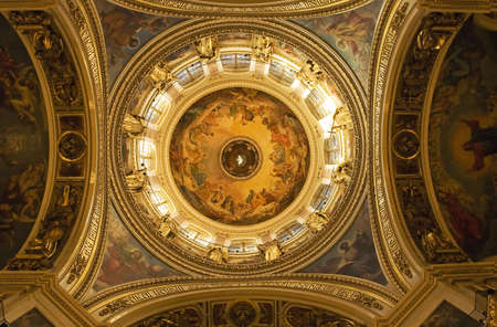 church dome: Ornate ceiling of russian orthodox church, St. Petersburg