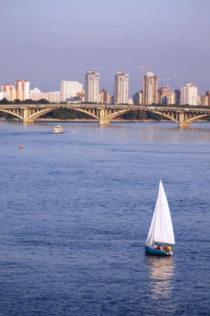Bridge and yacht in Kiev, Ukraine photo