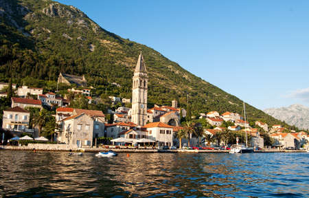 Sea view of Perast town in Kotor bay, Montenegro Stock Photo