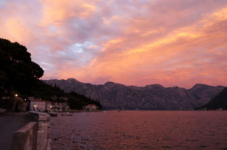 Evening in the Bay of Kotor, Montenegro Stock Photo