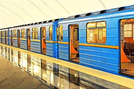 Station de métro souterrain à Kiev Éditoriale