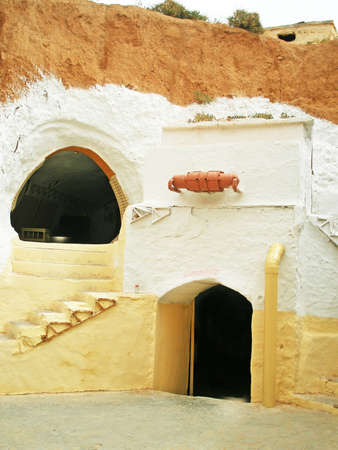 matmata: Decoration from film Star Wars I, tunisia The Hotel Sidi Driss, Matmata, Tunisia. The hotel served as the home of Luke Skywalker, planet Tatooine (1976-2000)