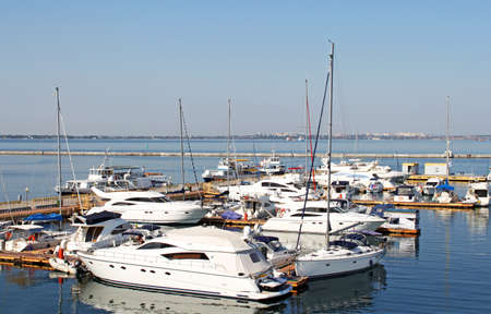 Yachts on the berth in Black sea, Odessa, Ukraine Stock Photo