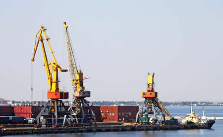 Trading seaport with cranes in Odessa, Ukraine