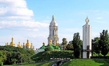 Kiev-Pechersk Lavra monastery and Memorial to sacrifice of famine in Kiev. Ukraine