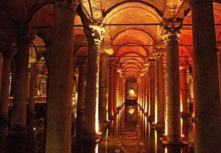 Turkey. Istanbul. Underground basilica cistern. Byzantine water reservoir build by Emperor Justinianus Editorial